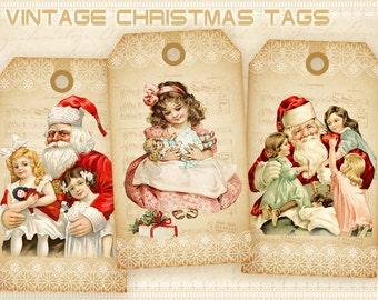 Christmas Gift Tags Printable Christmas Tags on Digital Collage Sheet Printable downloads Santa Gift Tags - VINTAGE CHRISTMAS TAGS