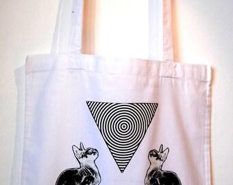 Hipnotic Triangle ,White Cotton Tote Bag