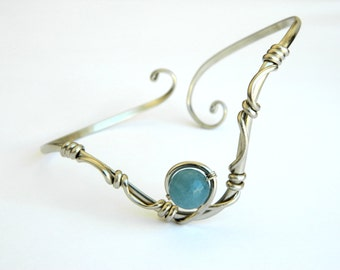 arm bracelet, Aquamarine bracelet, Bracelet with stones. Aquamarine. Bracelet. Upper Arm Bracelet. Upper Arm Cuff