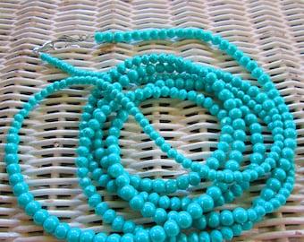 555  Aqua painted glass mix handmade beaded necklace