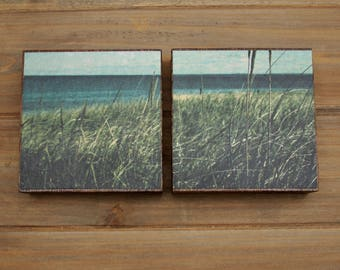 CLEARANCE - Lake Superior Wood Block Mounted Photo Diptych