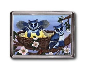 Blue Jay Cat Magent KIttens Bluejay Bird Cats Winged Fantasy Cat Art Framed Magnet Cat Lovers Gifts