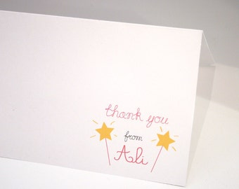 Little Miss Make a Wish -- Girls' Stationery Set - Children's Set of Thank You Cards & Envelopes- CHOOSE your QUANTITY