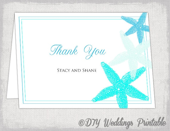 Wedding thank you card template Beach Starfish