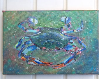 Confetti Crab,Blue crab, miniature painting, canvas painting,original artwork,Maryland Blue Crab