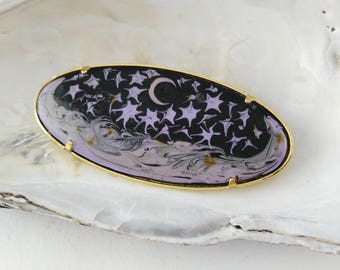 Celestial Brooch - Starry Brooch - Gift for Women - Stars Moon Brooch - Mystical Brooch - Trombone Clasp - Mother's Day Gift - Birthday Gift