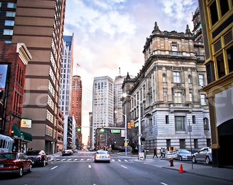 Congress St in Detroit  Fine Art Photograph on Metallic Paper