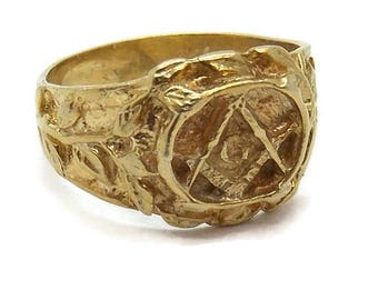14k Solid Yellow Gold Masonic Mens Ring!!