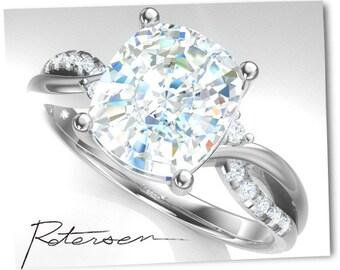 Moissanite Atlern. Engagement Ring - Wedding Ring - White Gold Ring - elongated Cushion Cut - Cocktail Ring - Promise Ring