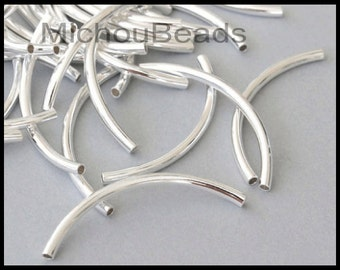 5 SILVER Curved Metal  TUBE Beads - 50X3mm Brass Tubes 2.4mm Hole - For Leather Bangle Bracelets - USA Wholesale Beads - Instant Ship - 5377