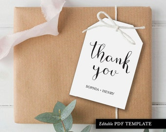 Gift tag template etsy thank you tag template wedding thank you tag template gift tag favor gift negle Images