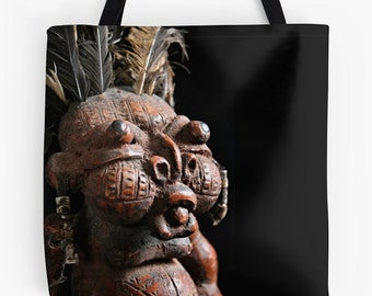 African Art Tote Bag - Featuring Exclusive Tikar Clay House God Design