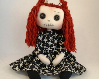 Handmade, Art doll, Gothic doll, Collectable doll, Gothic Gifts, Cloth Doll, OOAK, gothic decor, gift for sister, quirky gift, textile art.