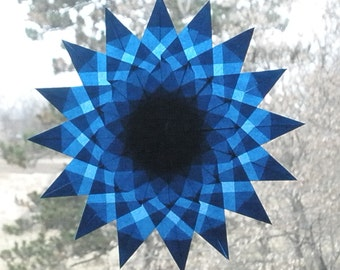 Navy Blue Mandala Window Star Suncatcher