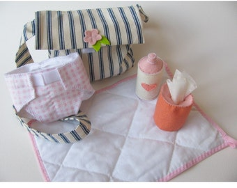 Waldorf toys Diaper bag 5 pc.set to play with your natural doll -MADE TO ORDER -