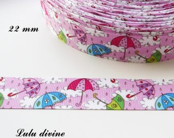Grosgrain Ribbon pink multicolored umbrella 22 mm sold by 50 cm