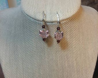 Pink Cube and Garnet Earrings