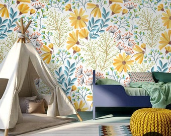 Peel and stick bohemian spring floral wallpaper | Removable wallpaper | Stylish wall mural | Vintage style wall sticker   #54