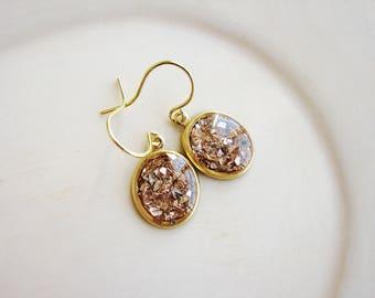 Gold Glitter Earrings, Resin Earrings, Small Dangle Earrings, Glass Glitter Earrings, Minimalist Earrings
