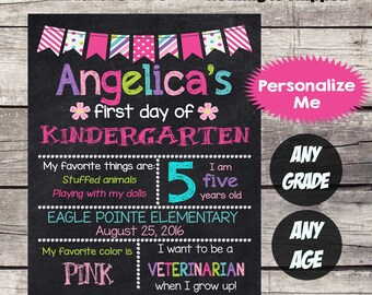First Day of KINDERGARTEN Sign First Day of School sign First Day of School Chalkboard Printable Personalized Back to School Sign ANYGRADE#5
