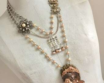 Statement Necklace, Cameo Necklace, Muse Necklace, Dutch Girl Necklace, Copper Cameo Necklace, Pearl Necklace, Vintage Assemblage Necklace