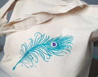 Peacock feather quill hand painted reusable cotton tote bag. Canvas book bag, wet play, swim bag, school bag, PE kit for girl, gift for her