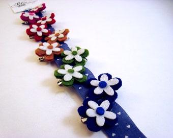 Petite Poppies - Upcycled Rainbow Felt Hair Clips