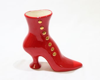Vintage Red and Gold Ceramic Heeled Boot Vase Shoe Planter, Victorian Boot Vase, Retro Decor