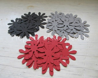 Red, Black, and Gray Paper Flowers, Confetti, Table Decor - Set of 100
