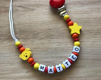 Pacifier clip personalized - winnie the Pooh theme - model matteo