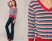 Velour Shirt V Neck Sweatshirt Striped Sweatshirt Long Sleeve Shirt 80s Retro Top 70s Blue Red Boho 1980s Pullover Slouchy Extra Small xs