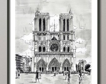 Notre Dame Paris Painting, Watercolor, Poster France, Giclee print , Modern wall art