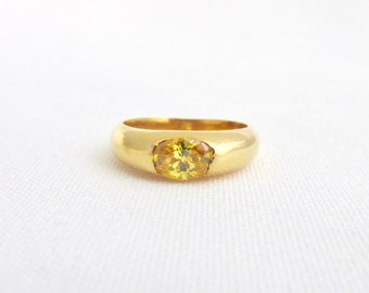 Plated ring yellow gold and CZ yellow Topaz T50