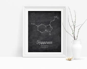 Serotonin Molecule Printable, Happiness Poster, Organic Chemistry Poster, Organic Chemistry, Nerdy Gift