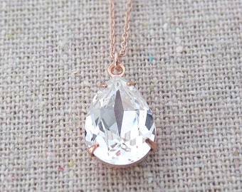 Swarovski Crystal Faux Diamond Teardrop Rose Gold Necklace, Simple Bridal Jewelry, Wedding Necklace, Bridesmaids Gifts, Tear Pendant