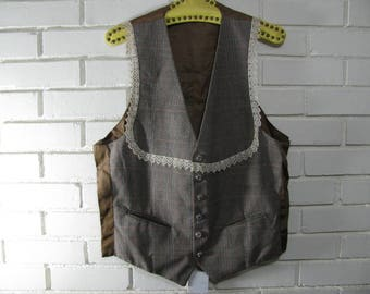 80's gray Glen Plaid vest with lace trim waist size 36''