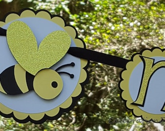 Bumble Bee First Year, 1st Birthday Photo Banner or Photo Display in Yellow, Black, and White. Handcrafted in 3-5 Business Days