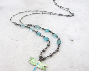 Dragonfly necklace, apatite enamel wire wrapped silver necklace, dainty gemstone necklace, oxidized sterling silver blue green bead necklace