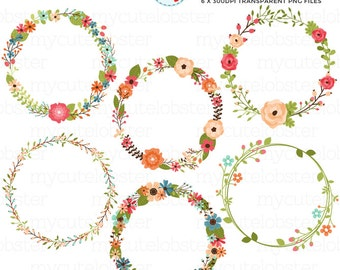Floral Wreaths Clipart Set - flowers, wreath, wedding clipart, floral clipart, flower - personal use, small commercial use, instant download