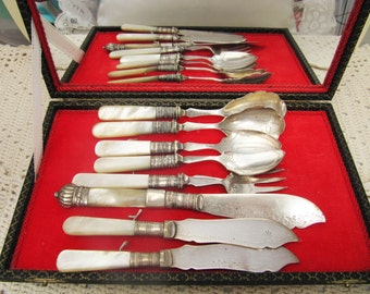 Vintage Mother of Pearl Sheffield England Silver Plated Cutlery Set Case, English EPNS Silver White Pearl Cutlery, Cutlery Mirror Velvet Box