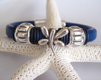 SALE Blue Licorice Leather with Dragonfly Focal Bracelet - Item R6018