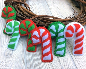 Candy Cane Ornament - Felt Candy Cane Ornament - Holiday Decoration - Felt Ornaments - Christmas Decor - Stocking Stuffer Under 10 Dollars