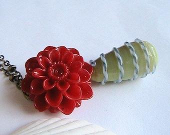 Red Rose Necklace, Rose Necklace, Red Rosette Necklace, Romantic, Sweet, Vintage, Victorian