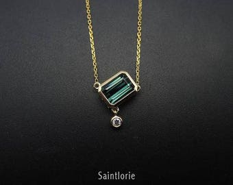1.6 Carat Green Tourmaline Necklace