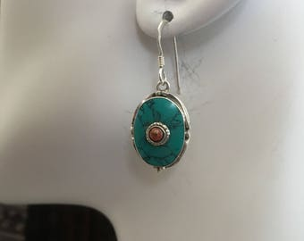Turquoise/coral with sterling silver earring..
