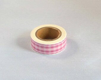 Masking tape pink gingham - Washi tape pink and white Plaid