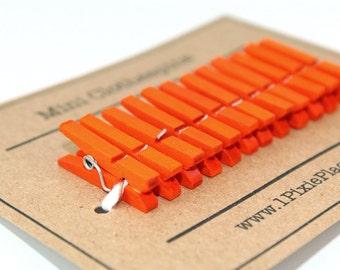 Mini Clothespins - Set of 12 - Sunshine Orange