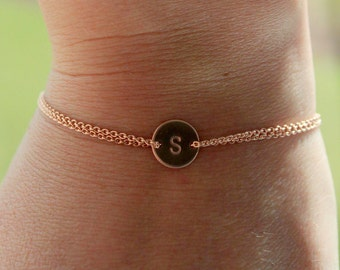 Rose gold Monogram bracelet, initial disc bracelet, dainty bracelet. wedding accessory, bridesmaid gift, friendship bracelet