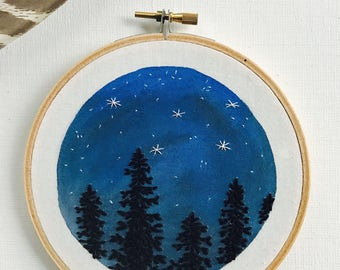 Hand Embroidery. Night Sky and Trees. Hoop Art. Embroidered Art. Stars. Wall Art. Home Decor. Embroidery Hoop. Forest. Constellation.