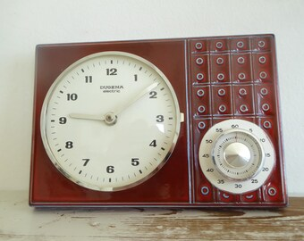 Dugena electric full working wall clock 60s 70s Batterie red ceramic clock